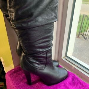 Jessica Simpson black leather boots 9B 5 in heel